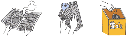 流しに穴の開いた新聞紙を敷く