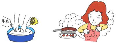 牛乳やレモン汁で手を洗う、お茶の葉の煙をあびる