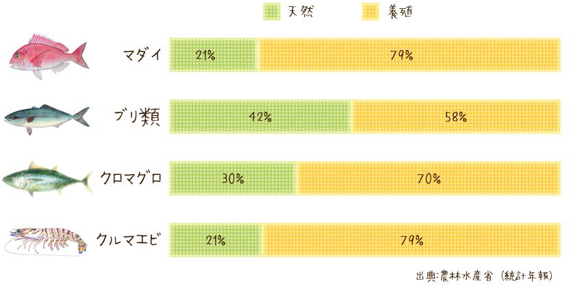 主な魚種の養殖生産割合のグラフ