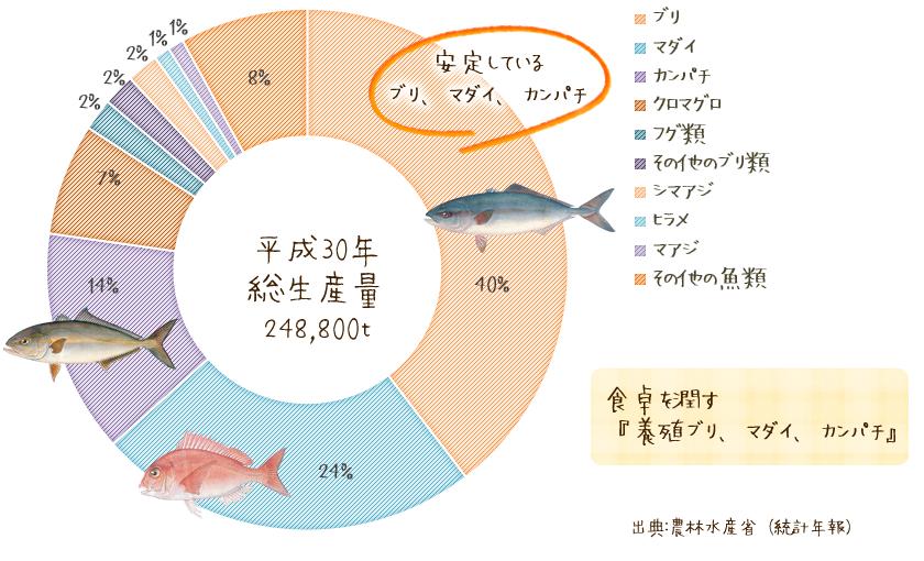 海面養殖魚類生産量割合のグラフ。食卓を潤す「養殖ブリ、マダイ、カンパチ」